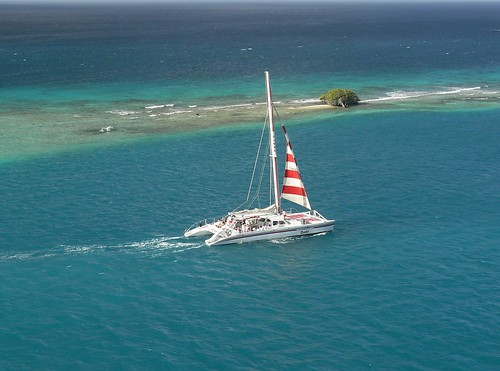 nature landscapes sea boat Aruba island blue aerial