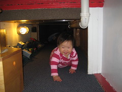 Aki crawling through the tunnel