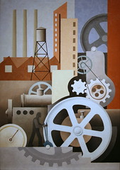 Machinery (Abstract #2) (cliff1066) Tags: industry architecture painting paul illinois paint factory canvas machinery fabric oil 1934 newdeal saam abstract2 kelpe publicworksofart paulkelpe machineryabstract2 newdealforartists picturingthe1930s