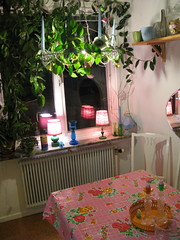 Corner of my kitchen... (lyckeliv) Tags: pink flowers green kitchen vintage candles kitsch retro lamps 60s 50s