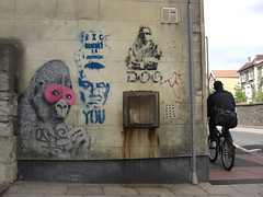 BANKSY GORILLA (JOHN19701970) Tags: street uk pink england urban dog streetart stencils art wall bristol graffiti is big artwork stencil paint artist mask gorilla you brother tag famous watching july banksy tags spray tagged works spraypaint masked aerosol 2009 easton operamask