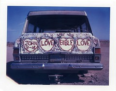 john love bible love (instant satisfaction) Tags: california ca love john polaroid paint fuji roadtrip bible expired kaleidoscopic expiredfilm salvationmountain fp1 niland biblicalquote leonardknight iduv expired022008 188lfv