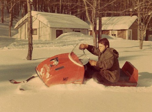 Snowmobiling the Day After a Blizzard Struck Northern Maine During the Deep Snow Winter of 1968-1969