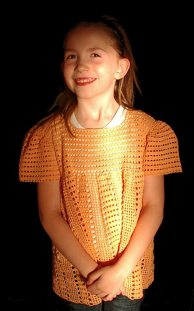 image 4 orange crochet shirt