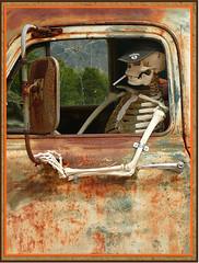 Old driver (abac077) Tags: usa chevrolet car truck dead fun austria amazing route66 rust automobile funny mercury mort edsel humour voiture chevy bones driver wreck tyrol pilote chauffeur squelette epave