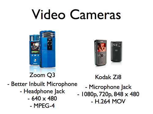 Video Cameras: Zoom Q3 and Kodak Zi8