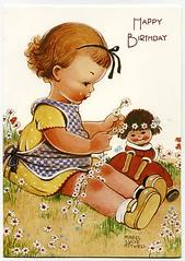 Mabel Lucie Attwell - Girl and her doll (moonflygirl) Tags: illustration card 1991 daisychain greetingscard girlwithdoll mabellucieattwell