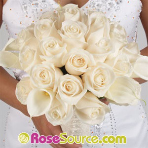 White roses and White callas callas bridal bouquet