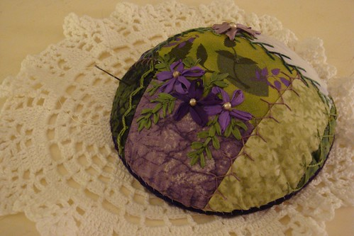 Purple Green pincushion WIP 2