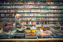 Sweets (TGKW) Tags: portrait people girl shop retail candy sweet glasgow till sweets jars 6733