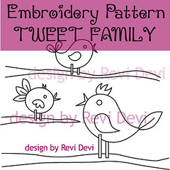 tweet family (revi1001) Tags: tree bird nature modern birdie forest pattern hand stitch embroidery doodle kawaii owl etsy graden whimsical revidevi revi1001
