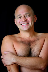 David #5 Exhilarated (just.Luc) Tags: portrait man male smile face naked nude arm nu retrato chest uomo mature torso portret sourire ritratto hombre homme visage bras nudo desnudo gezicht glimlach bodyhair