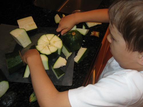 Cutting the Zucchini into fractions