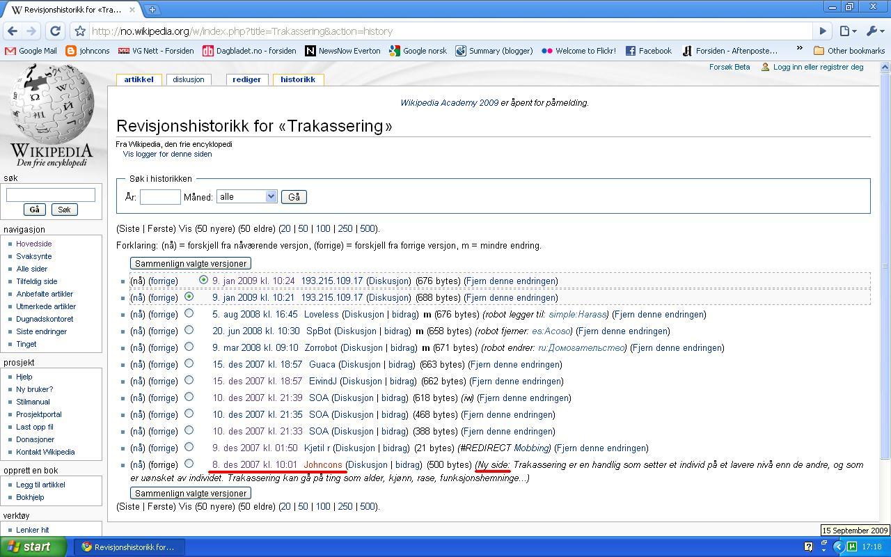 trakassering wikipedia