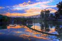 One morning! (Mae_Bautista) Tags: bridge sunrise philippines mindanao manmadelake 18200mm canon50d koronadalcity delriosplashresort