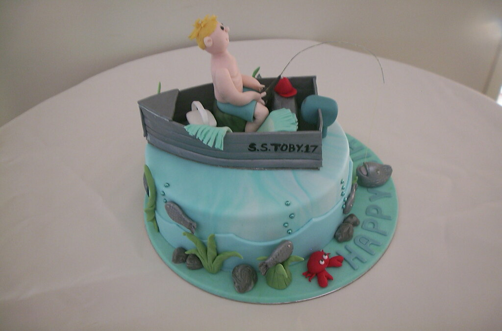 Fishing cake decoration cake decoration baby girls for Fishing cake decorations