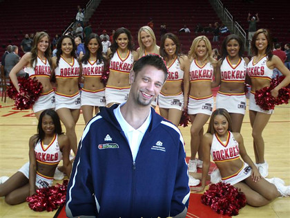 David Andersen with Houston Rockets dancers