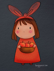 autumn apples (bengi gencer) Tags: autumn red cute bunny apple colors illustration night hair design hands bright cut drawing character ears line short apples cheecks