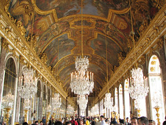 Palace of Versailles - Hall of Mirrors (*Checco*) Tags: france art lamp hall europa europe paint interior room perspective royal mirrors palace ceiling indoors chandelier versailles ornate chateau francia hallofmirrors fresco chateaudeversailles 5photosaday
