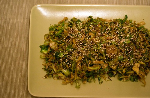 shaved brussels sprouts with soy, sesame and ginger