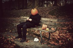 pumpkinhead (sp_clarke) Tags: autumn orange selfportrait color fall texture halloween leaves vancouver photoshop bench pumpkin october with candy grunge pumpkinhead stanleypark nothing naranja rhymes blorenge rhymeswithorange netneutrality matters2me