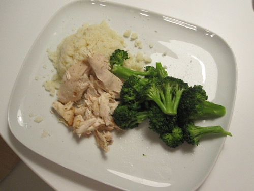 Chicken, mashed, broccoli at home