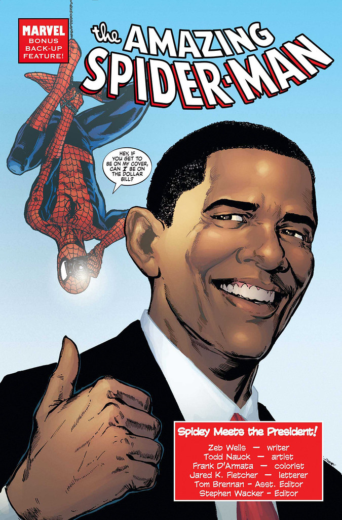 Portada comic Spiderman y Obama