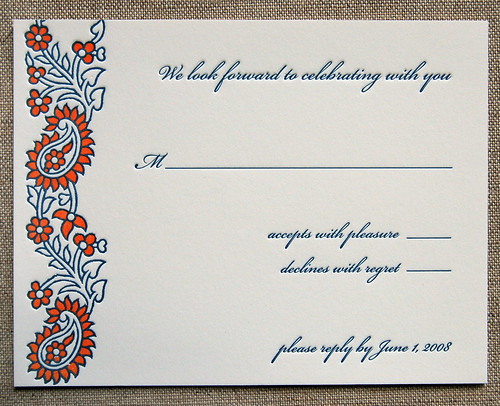 wedding response card wording