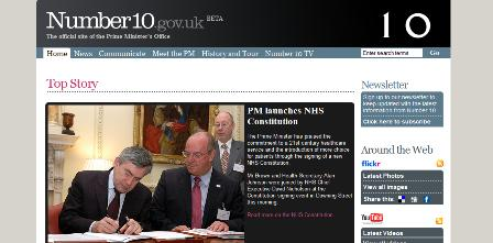 Number10.gov homepage