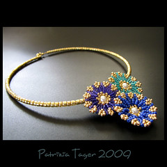 Tropical Chic - Blues - Choker (Triz Designs) Tags: flowers gold necklace purple turquoise jewelry tropical beaded choker beadwork royalblue ebwc trizdesigns