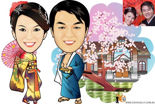 Custom Caricature Japanese Theme Couple Drawing (Digital Caricature)