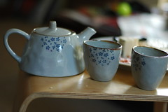 Tea for Two (Meredith James) Tags: flowers blue relax afternoon tea sunday pot cups chai