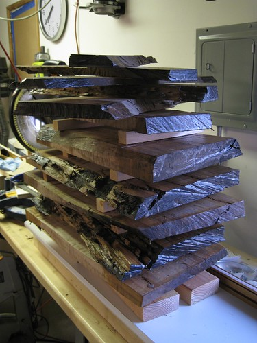 sealed Eucalyptus slabs on my miter saw wing table