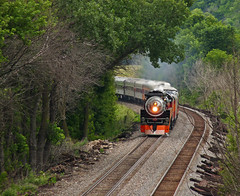 SP 4449 rounds the curve at MP 190 at Sandy Hook,Wi. on 7-18-09. (jimt31) Tags: trains railroads steamtrains sp4449 oldtrains