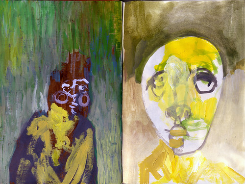 Two sketchbook heads, acrylic on paper, June 2009 by Sarah Atlee. Click image to view source.