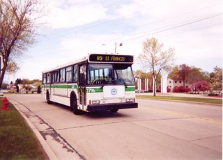 Milwakee County Transit District bus on a fantrip charter. Milwaukee Wisconsin. March 2001.