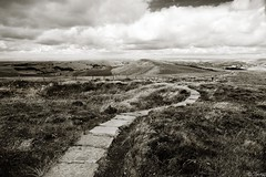Harsh (tricky (rick harrison)) Tags: park uk bw stone sepia walking cheshire district curves highcontrast peak windy national valley winding tor curve curved footpath shining harsh slab slabs goyt