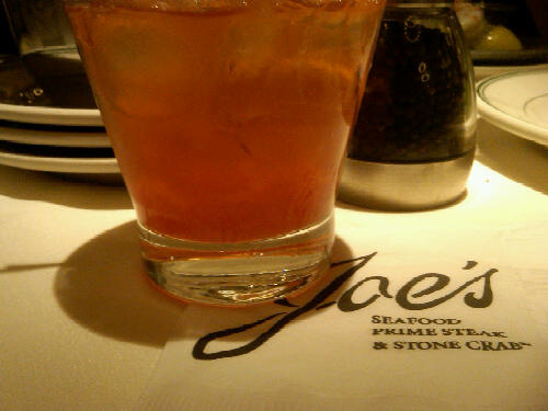 Old Fashioned and steak at Joe's