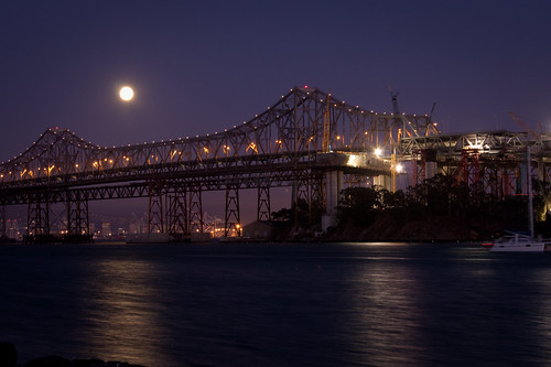 Bay Bridge bypass: Moonrise behind Bay Bridge