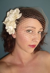 double flower with birdcage veil bandeau (Birdcage Veils and Wedding Accessories by Tessa Ki) Tags: flowers wedding vintage silver gold necklace veil crystal pearls retro chain etsy jewelery bridal veils specialoccasion feahters lacenecklace birdcageveil etsyweddingteam birdcageveils russianveil frenchveil russianveiling frenchveiling