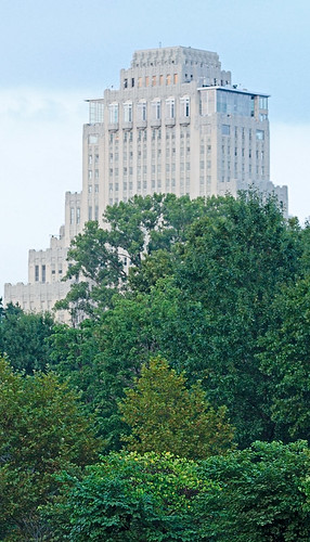 The Park Plaza Apartments, in Saint Louis, Missouri, USA - view from Forest Park,