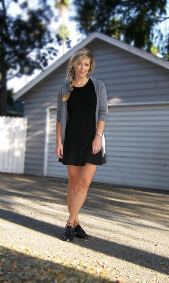 black-sweater-dress-oxfords-2, gray cardigan, side braid in hair, alexander wang braid