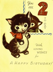 A Birthday Card for my 2nd Birthday 1959 (redrickshaw) Tags: kitten 2ndbirthday vintagebirthdaycard1959