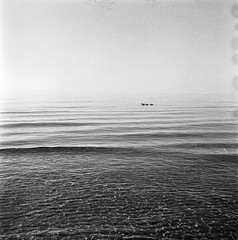 """it's like sugimoto plus ducks"" (like okay cool dude) Tags: ocean sea bird 6x6 tlr beach birds mediumformat duck waves pattern trix ducks 400tx squareformat halmstad tylsand rolleicord calbe r09 classicblackwhite"