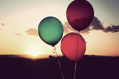 Lightheaded (chiarashine) Tags: sunset balloon happiness whiteshirt flyaway