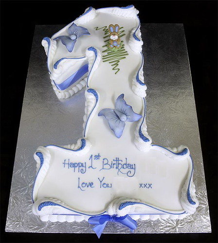 002560 Figure One Birthday Cake with Sugar Butterflys
