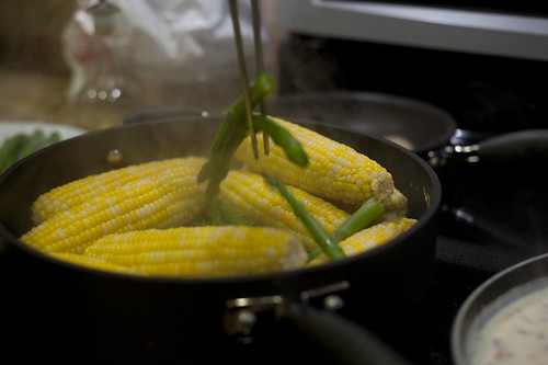 Steamed Corn and Asparagus