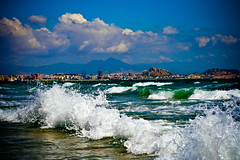 waves against waves in alicante. (rastafarai in finland) Tags: city sea espaa castle beach mar spain wave ciudad playa alicante castillo ola