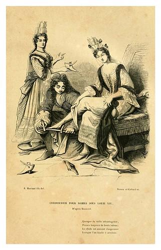 017-Zapatero de damas bajo el reinado de Luis XIV de Francia-Histoire de la chaussure depuis l'antiquité-1862- Paul Lacroix y Alphonse Duchesne