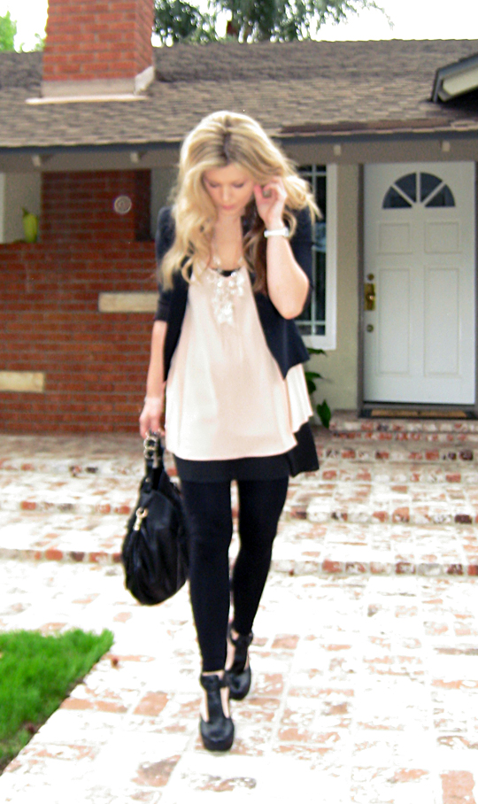 what I wore+Miguelina silk crepe top+Prada Chandelier Necklace diy -2